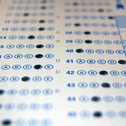 Standardized test scantron form