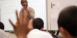 """Teachers United Board President Nathan Gibbs-Bowling holds notoriously high expectations for his low-income students at Lincoln HS in Tacoma. """"What Mr. Bowling has done surpasses simple teaching. He inspires us to do our best in order to be our best,"""" say his former students."""