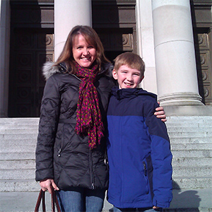 Beth Sigall with her son in Olympia