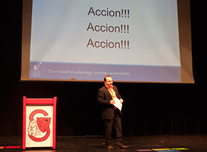 "Guest speaker Bernardo Ruiz delivers his charge for parents and family members to take ""ACCION!"""