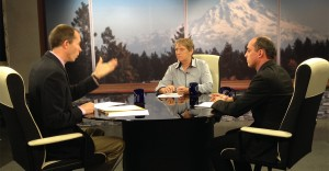 League of Education Voters CEO Chris Korsmo and Stand for Children Executive Director Dave Powell chat with Austin Jenkins for TVW's Inside Olympia program on September 11, 2014.