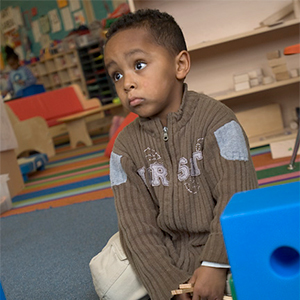 A preschool student at South Shore PK-8. (Photo copyright: Stefanie Felix.)