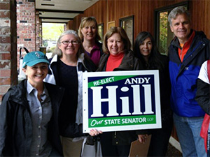 Doorbelling for Senator Hill. From left: Beth Sigall, Dawn McCravey, Betsy Cohen, Janet Suppes, (unknown), and Sen. Steve Litzow.