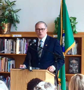 Governor Jay Inslee addresses the crowd at Aki Kurose Middle School before signing Opportunity Gap House Bill 1541
