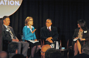 Our rockstar panelists (l-r): Will Sarett, Dr. Amy Morrison Goings, Mike Sotelo and moderator Colleen McAleer