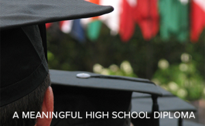 A meaningful high school diploma. (Image of graduating students.)