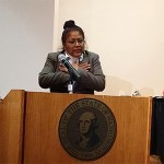 Maria Estrada testifies in Olympia on the new discipline law in April 2014.