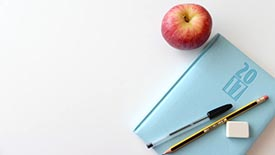Teacher planner with apple