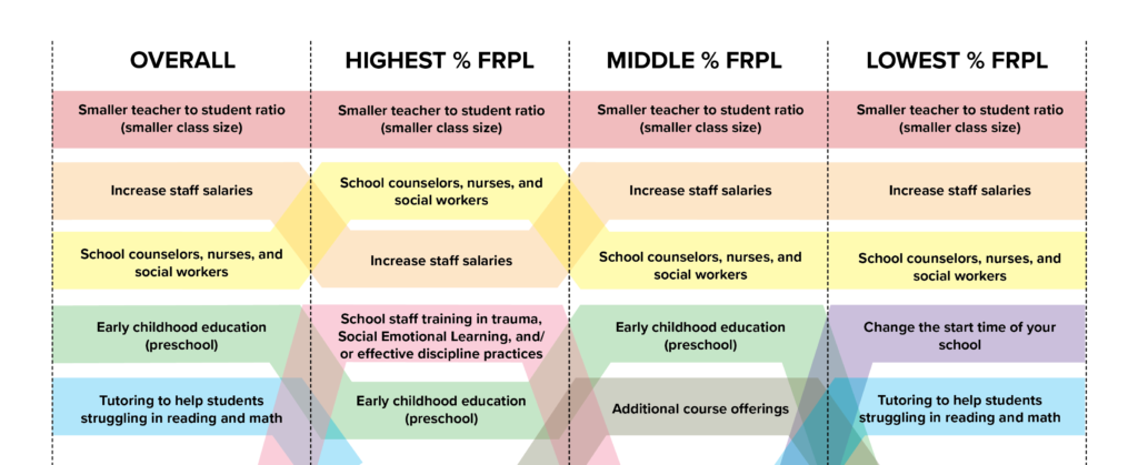 Chart of priorities by socioeconomic status